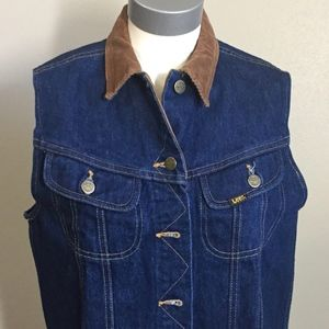 Vintage Lee Denim Vest with Corduroy Collar